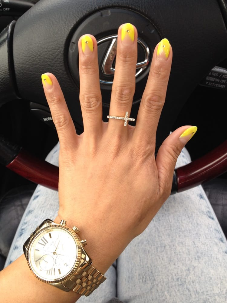 Thick neon french tips with jewels :) - Yelp