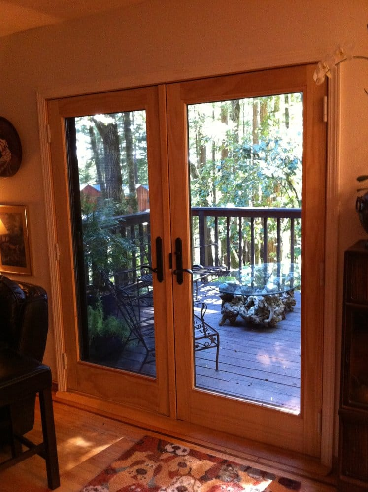 Andersen 400 series french wood patio door installed in the redwoods on skyline ready for for Andersen interior french doors