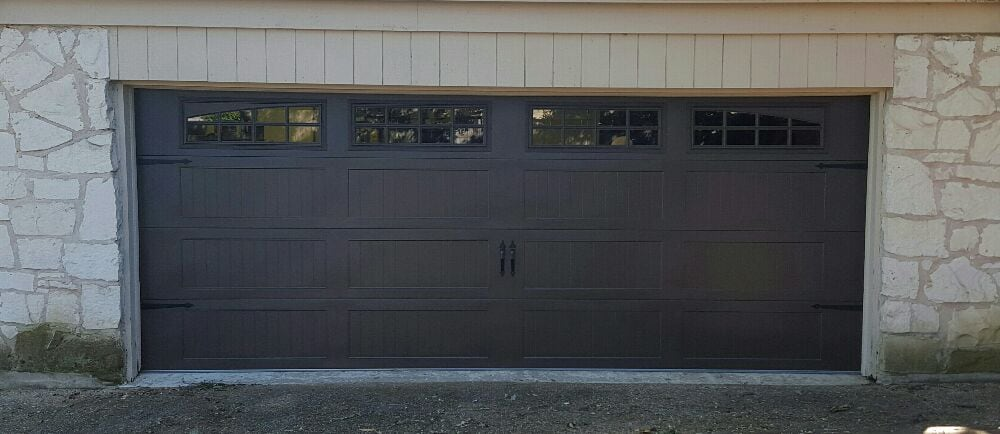 Dark brown carriage door yelp for Garage door repair austin yelp