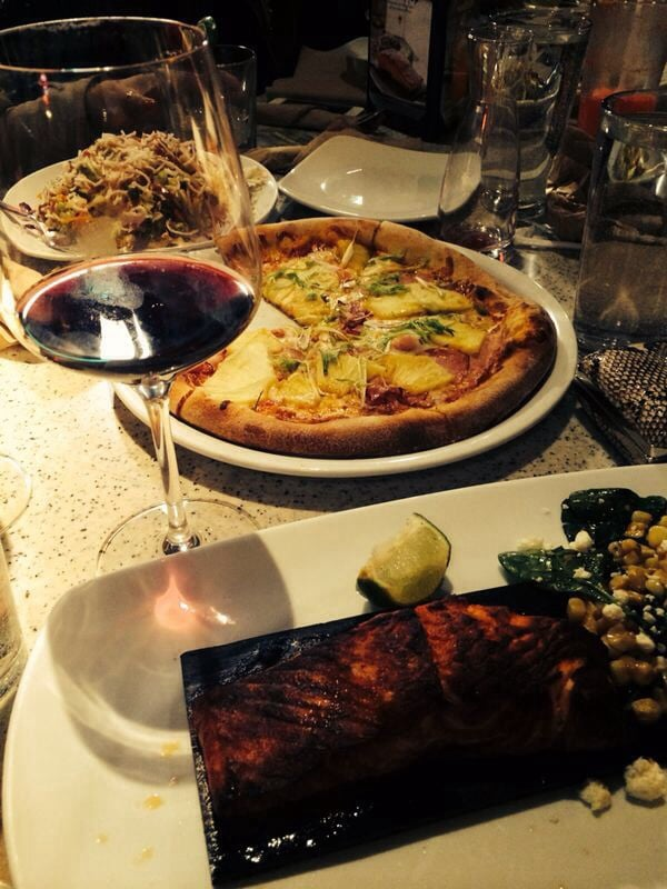 Grilled salmon and cheese pizza with scalion - Yelp