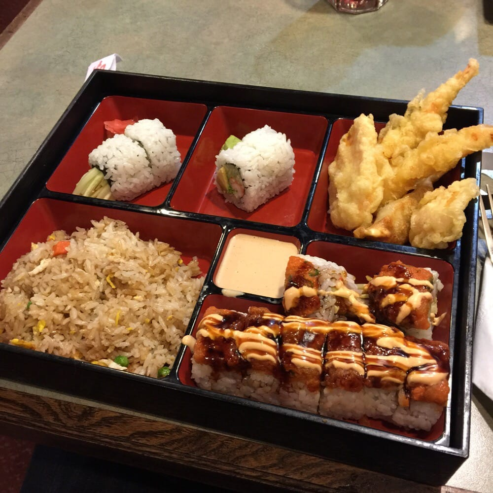 bento box lunch with a tiger roll yelp