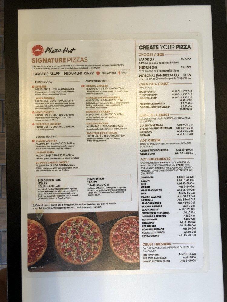 Online Menu Of Pizza Hut Restaurant Honolulu Hawaii 96818 Zmenu