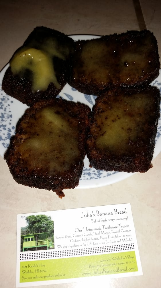 Julia's banana nut bread sliced with lulikoi butter on top ...