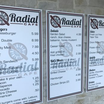 Radial Cafe Grand Prairie Menu