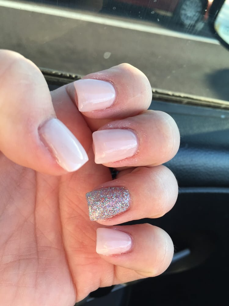 Acrylic nails, soft pink opi, pressed glitter. - Yelp