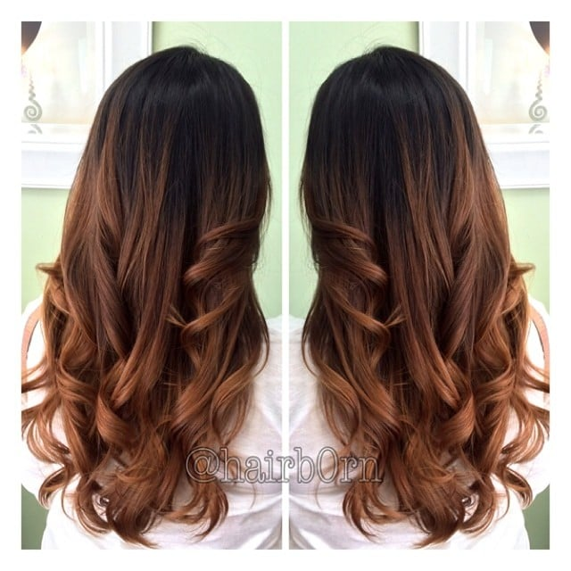 Chestnut chocolate brown balayage ombre by emilee yelp - Balayage braun caramel ...