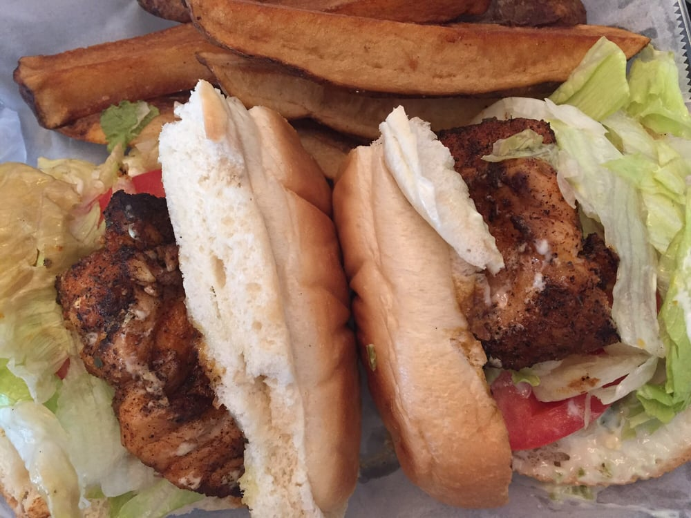 Blackened grouper sandwich with jalape o tartar sauce and for Fish market charlotte