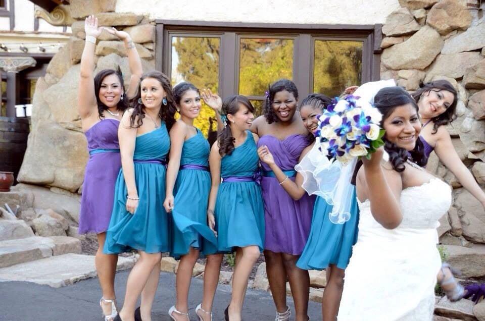 Teal Purple Bridesmaid Dresses