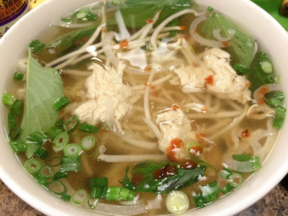 Mock chicken pho with added basil and bean sprouts yelp for Asian cuisine and pho