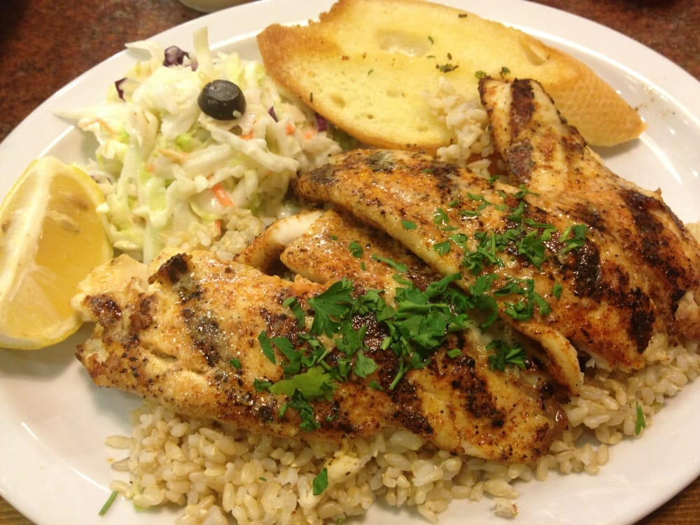 Grilled cajun tilapia brown rice toast and cole slaw yelp for Fish dish sherman oaks