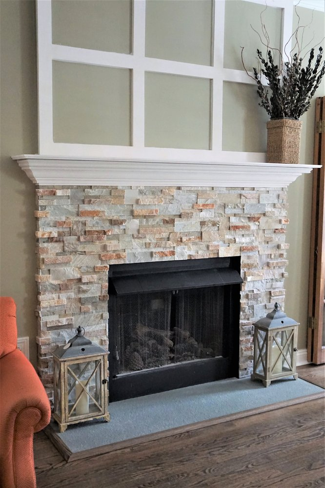 Fireplace Facelift With Real Stacked Stone Wrap Custom Wood Mantel