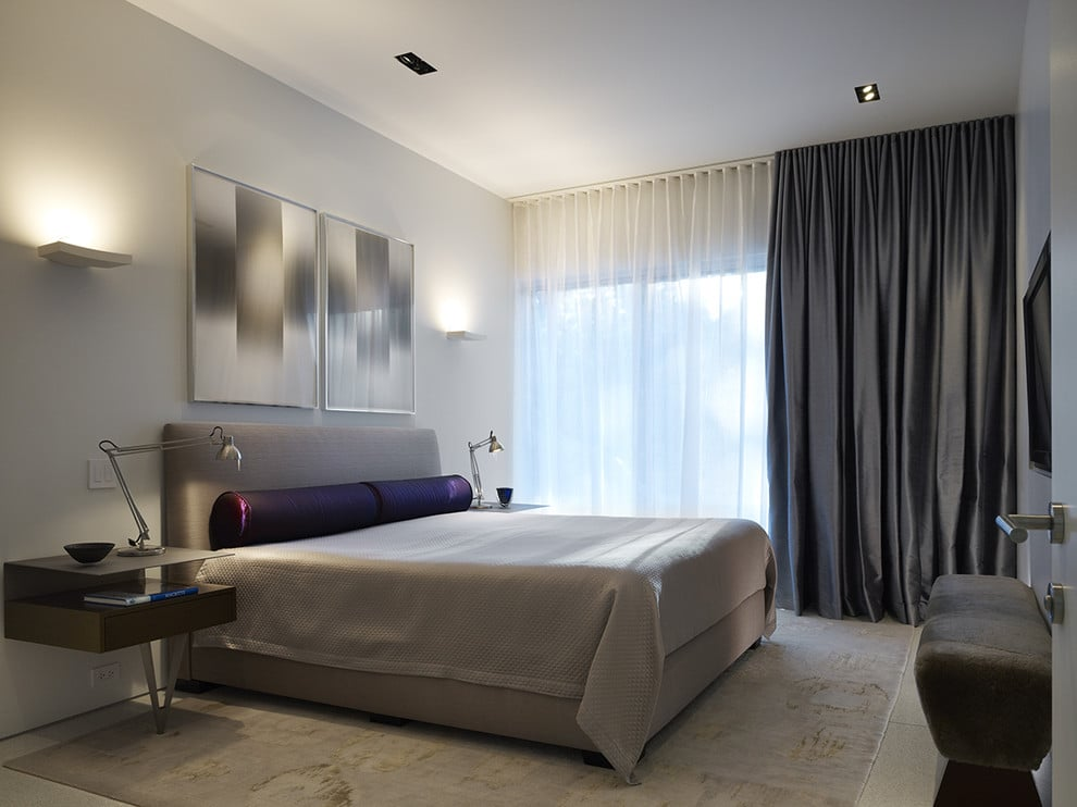 Contemporary Bedroom with Dual Layer Curtains - Privacy ...