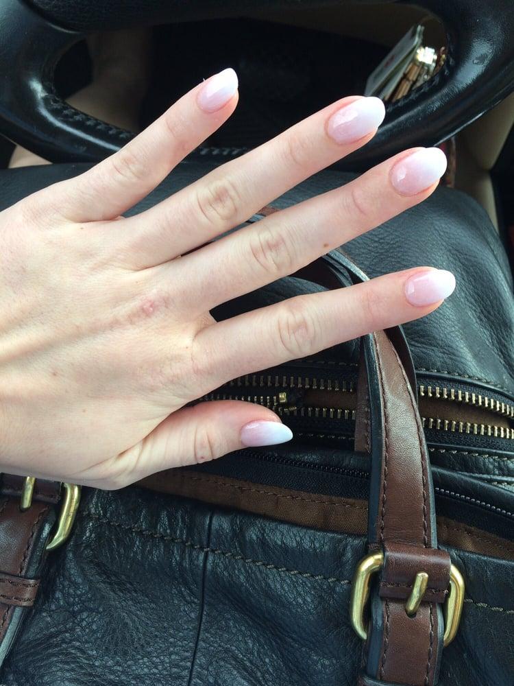 Pink/white ombre Powder dip on my original nail. - Yelp