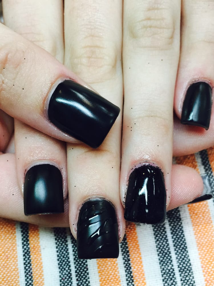 Matte black gel over acrylic nails with one black glitter accent ...
