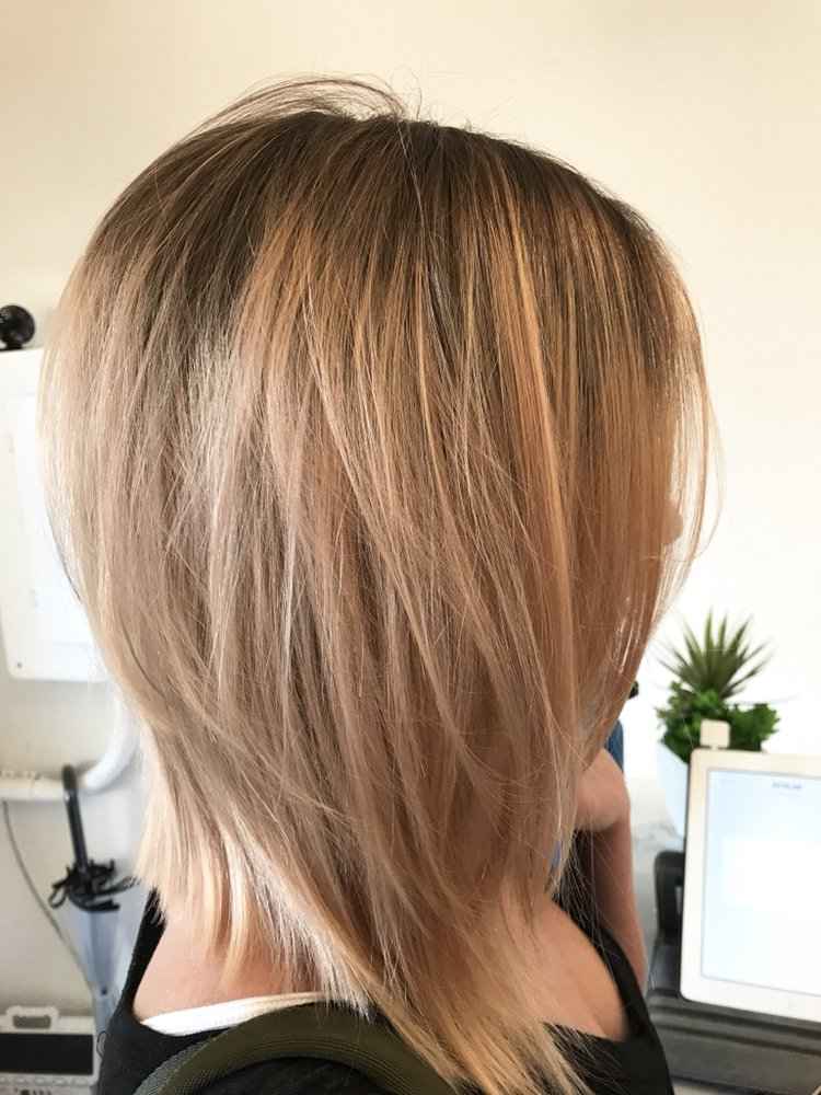 A Line Lob Cut Jean Marie Signature Layers Peach Hue Balayage By
