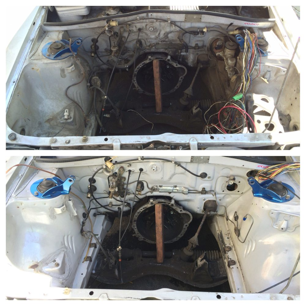 Toyota Starlet kp61 engine bay clean up for a high