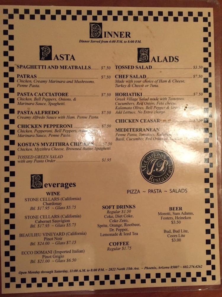 Pizza And Pasta Dinner Menu Yelp