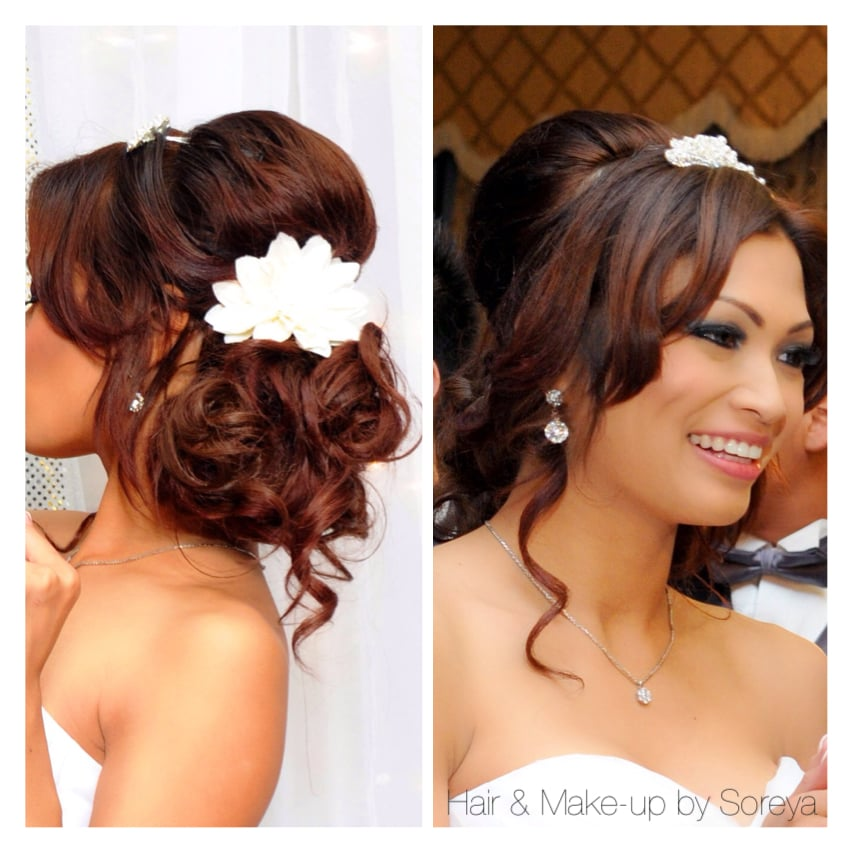 To The Side Wedding Hairstyles: Low Side Updo Bridal Hair