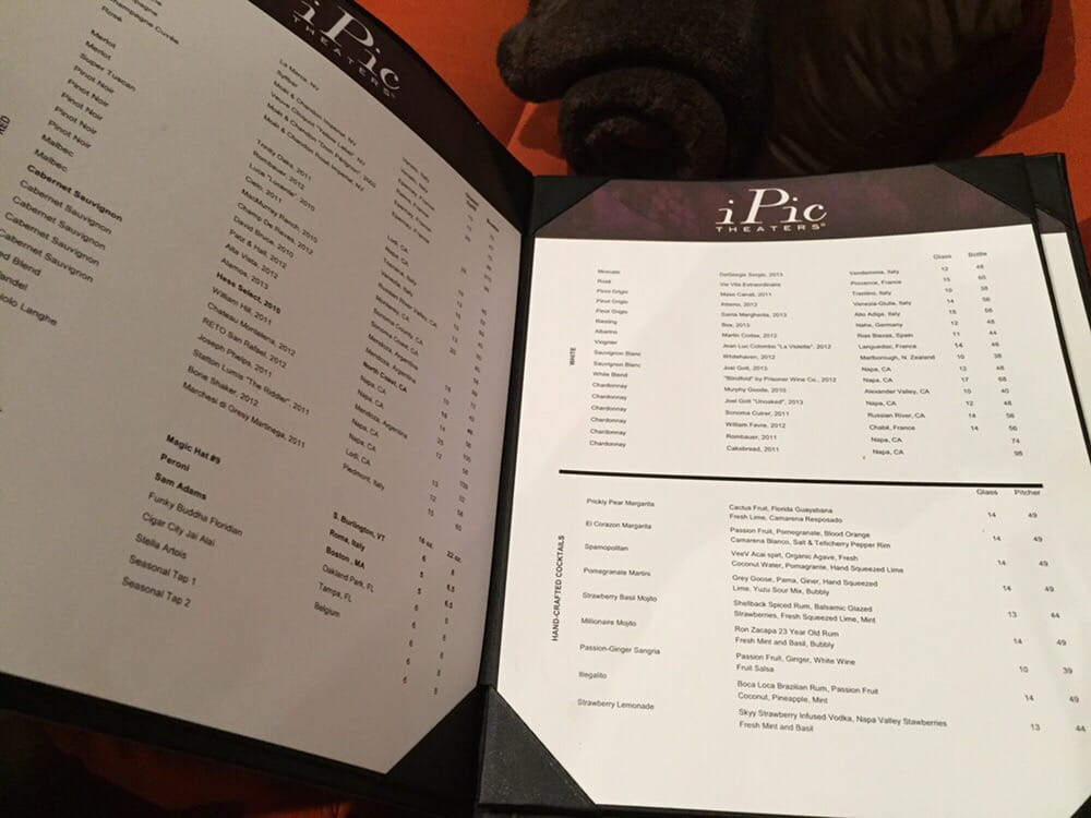 Ipic Theater Food Menu