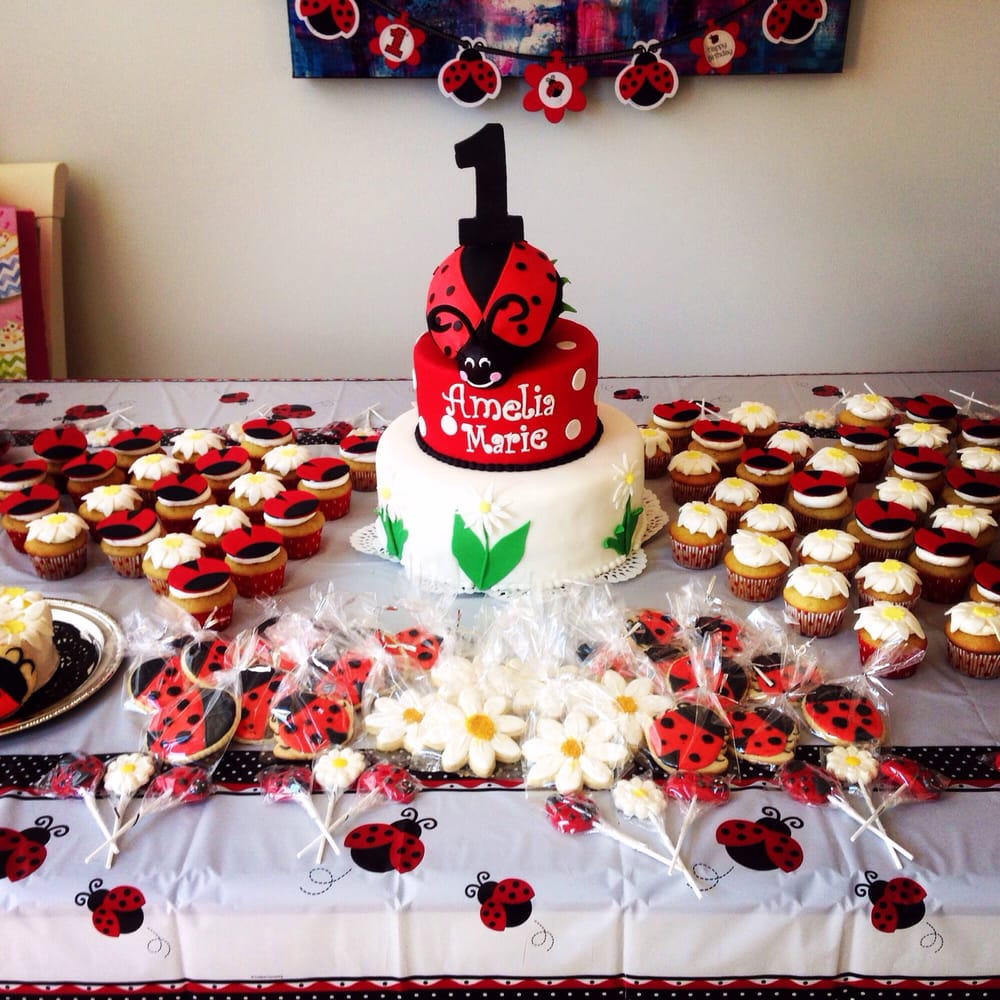 Lady Bug 1st Birthday Sweet Table That Included Daisy Lady Bug