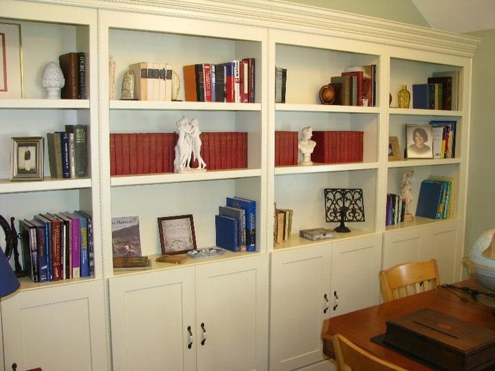 library custom built shelving units with storage below. Black Bedroom Furniture Sets. Home Design Ideas