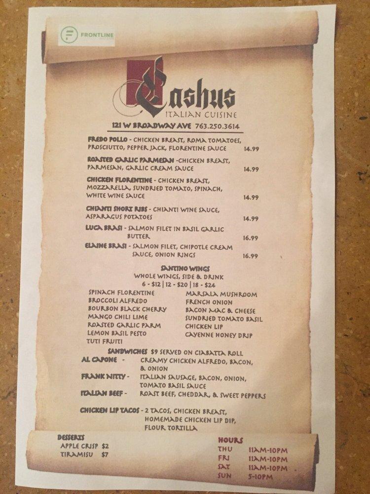Cashus Italian Cuisine: 205 Davis Rd, Batavia, IA