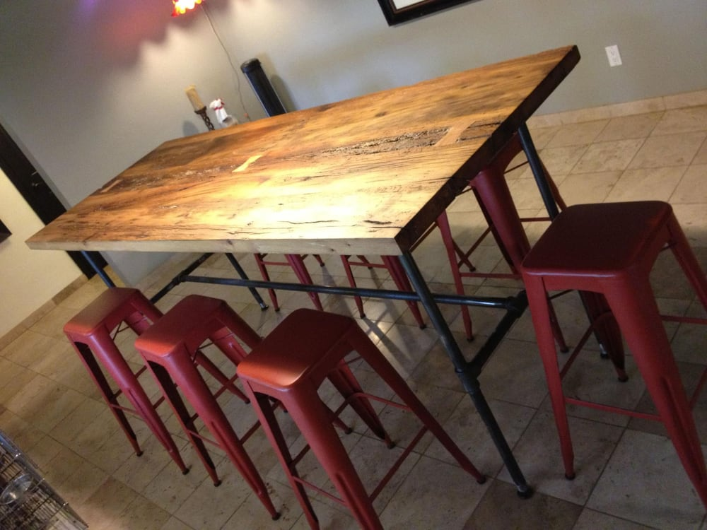 Custom Reclaimed Wood Bar Height Dining Table by PBW - Yelp