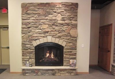 heat glo cerona gas fireplace with boral chardonnay southern ledge stone blended with. Black Bedroom Furniture Sets. Home Design Ideas