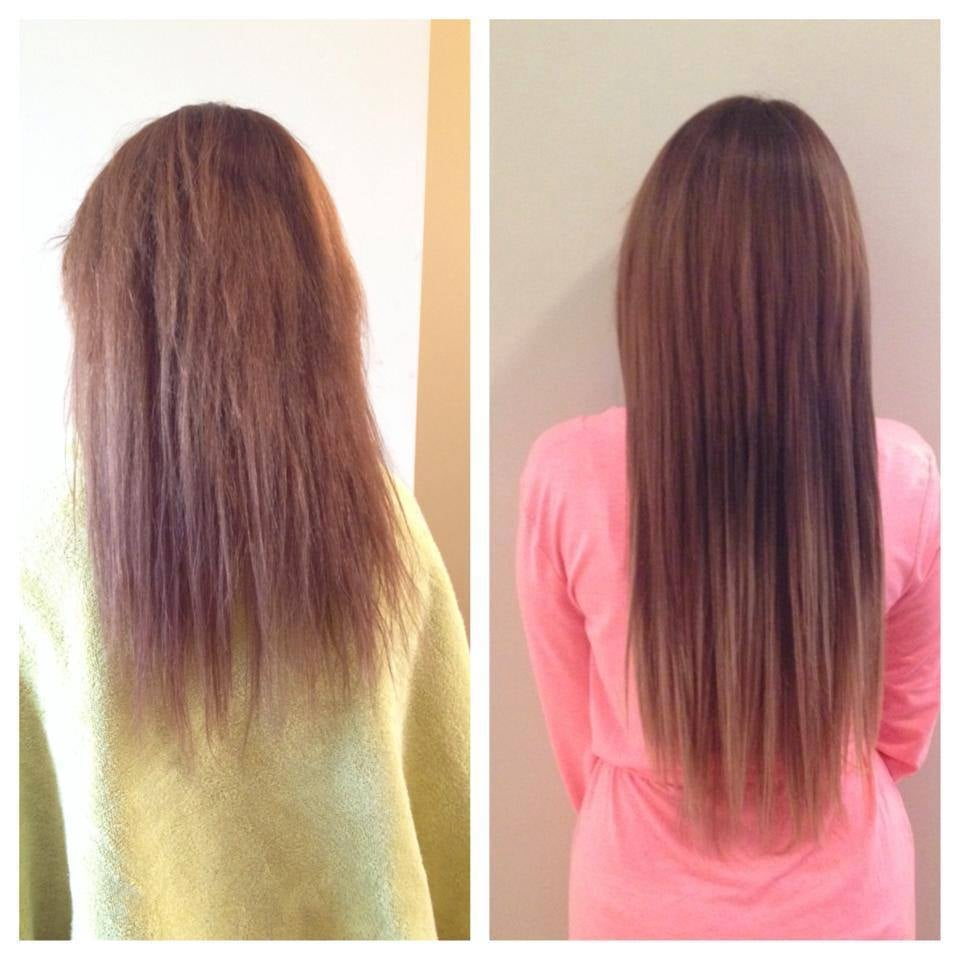 Before And After Of 18 Fusion Hair Extensions Client Did Not Want