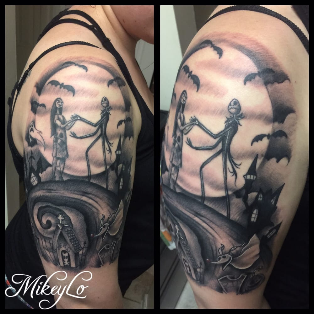Mikey Lo did my amazing Nightmare Before Christmas half sleeve ...