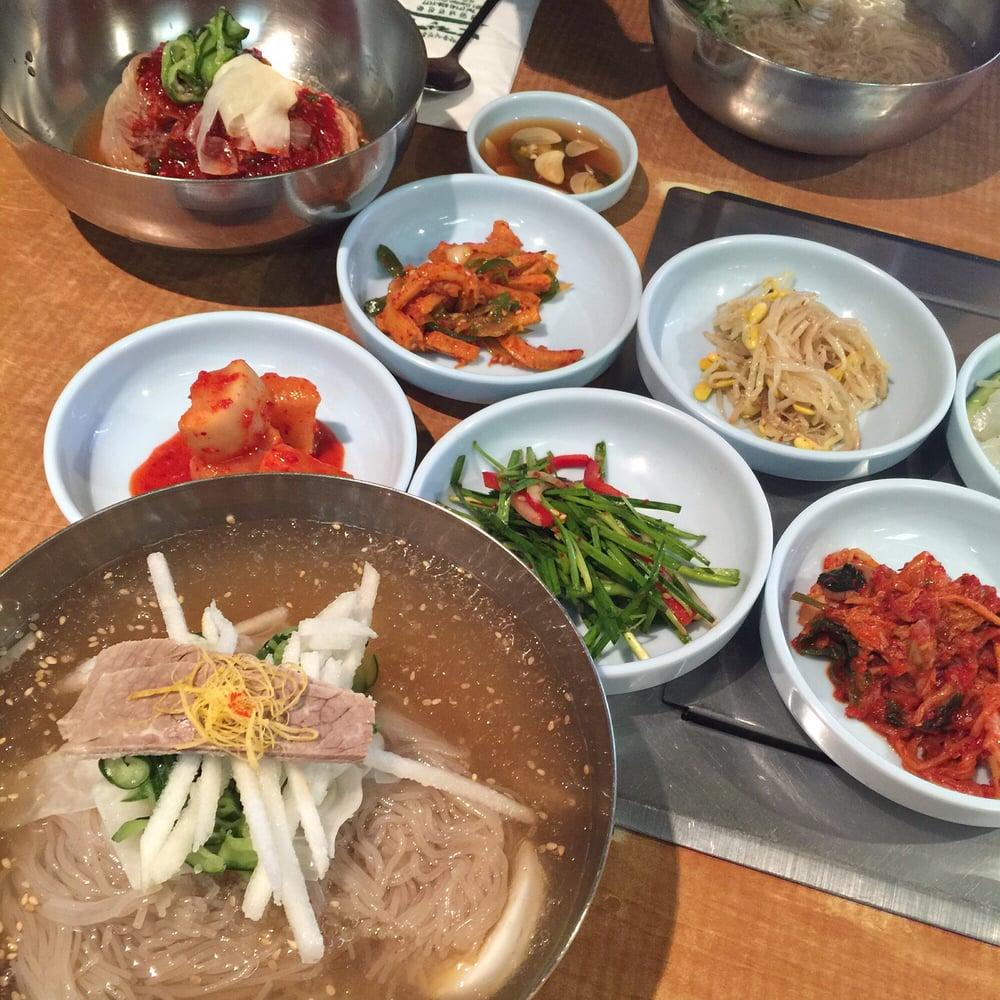 Pyeongyang Mul Naengmyeon (buckwheat noodle) and Bibim NaengMyeon (spicy cold buckwheat noodle) for $9.95 each