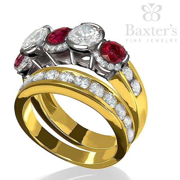 custom diamond and ruby ring with matching diamond wedding