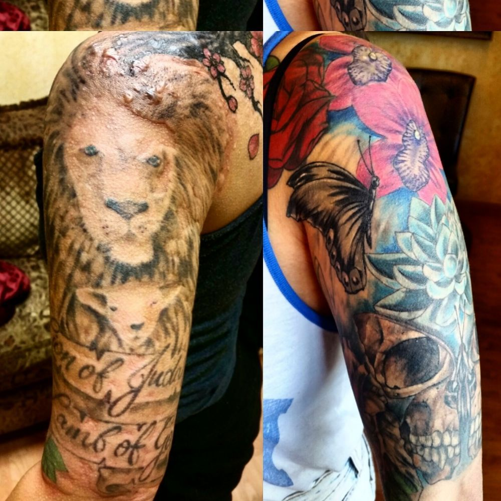Lighten the tattoo on the left about 50% and the cover-up is ...