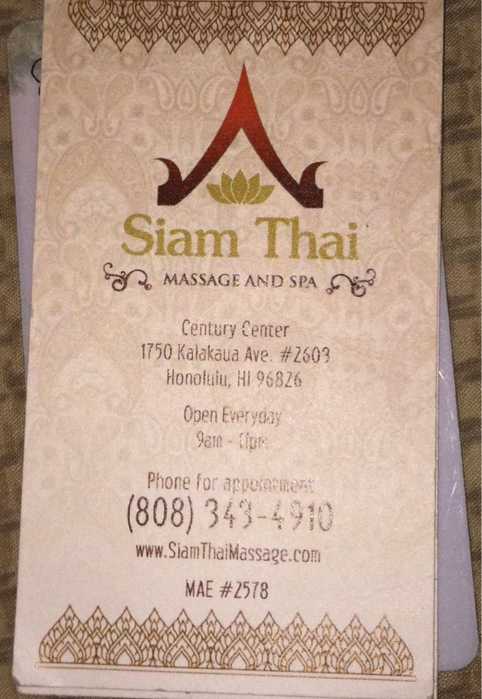 Business card front stamp card free hour massage after so many photo of siam thai massage and spa honolulu hi united states business reheart Gallery