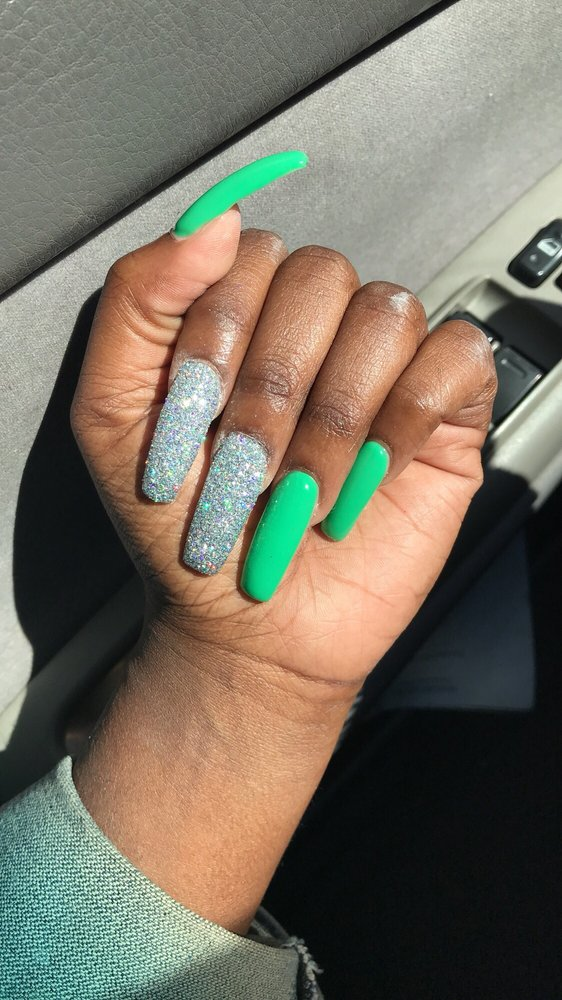 Sister got acrylic (new set) with gel polish and raw glitter. - Yelp