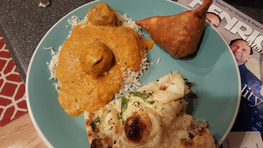 Take out vegetable samosas malai kofta and garlic naan for Anokha cuisine of india