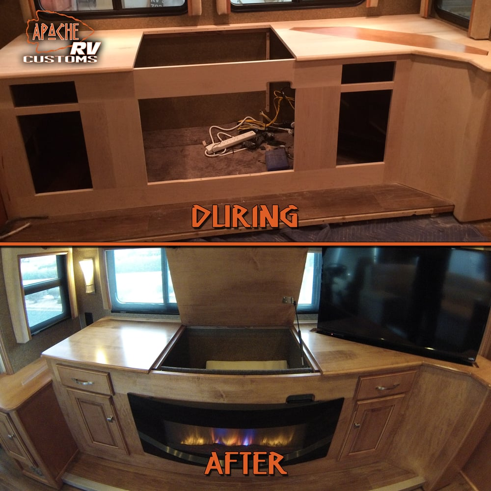 Custom Credenza W Fireplace Tv Lift Charging Station And