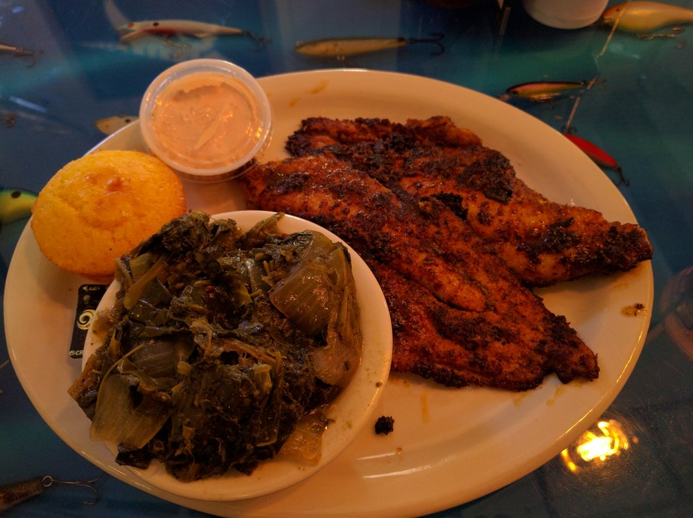 Blackened catfish with collard greens yelp for Soul fish cafe