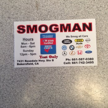 Smogman closed smog check stations 7431 rosedale hwy for Business cards bakersfield