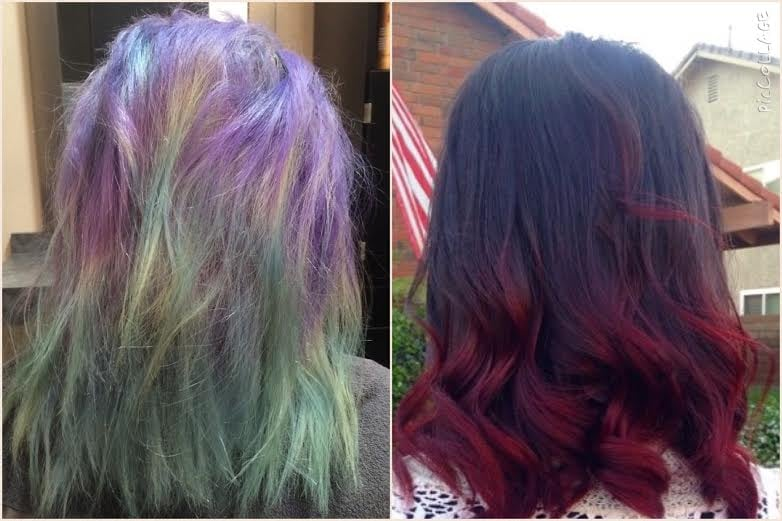 from punky blue and purple to ombre dark brown and red yelp
