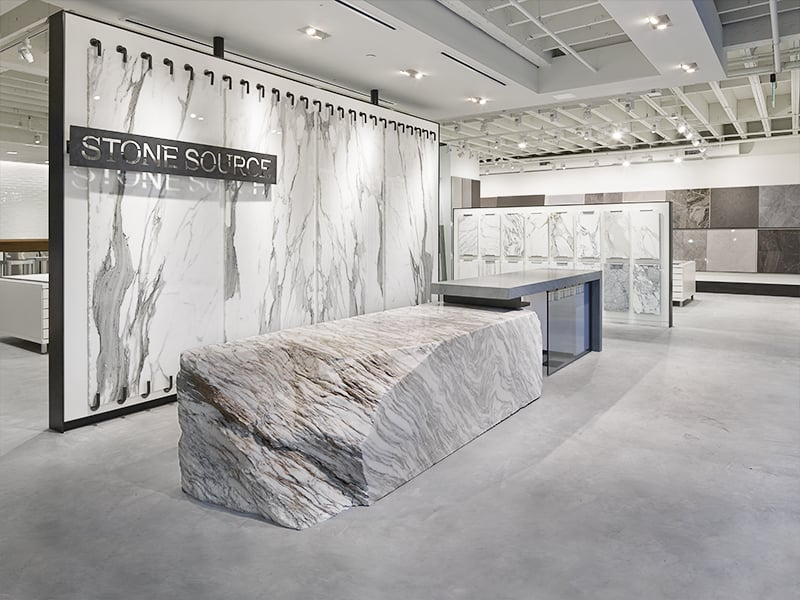 Marble Slab Design : Reception area calacatta tucci block vision