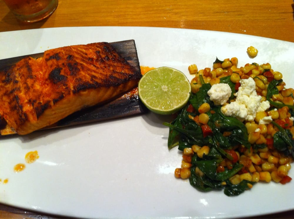 cedar plank salmon with corn and spinach succotash - yelp