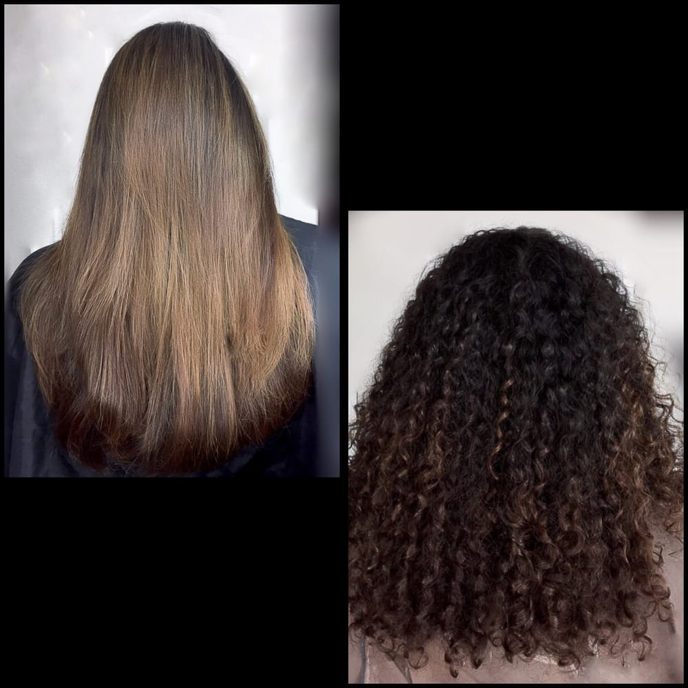 A Before & After Balayage Highlights on Natural Black hair