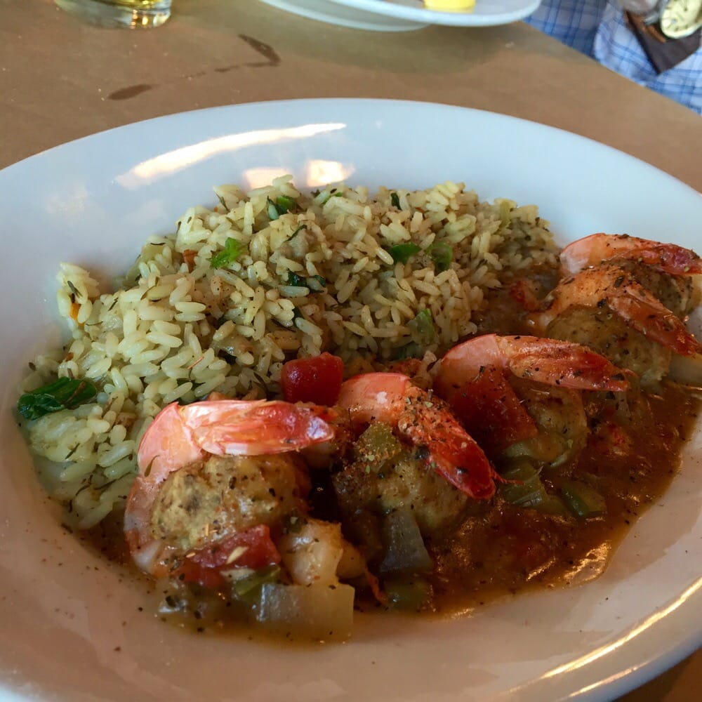 ... St. Louis, MS, United States. Crab stuffed shrimp with scallion rice