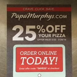 graphic relating to Papa Murphy Coupon Printable known as Coupon codes papa murphys pizza : Framework machines coupon
