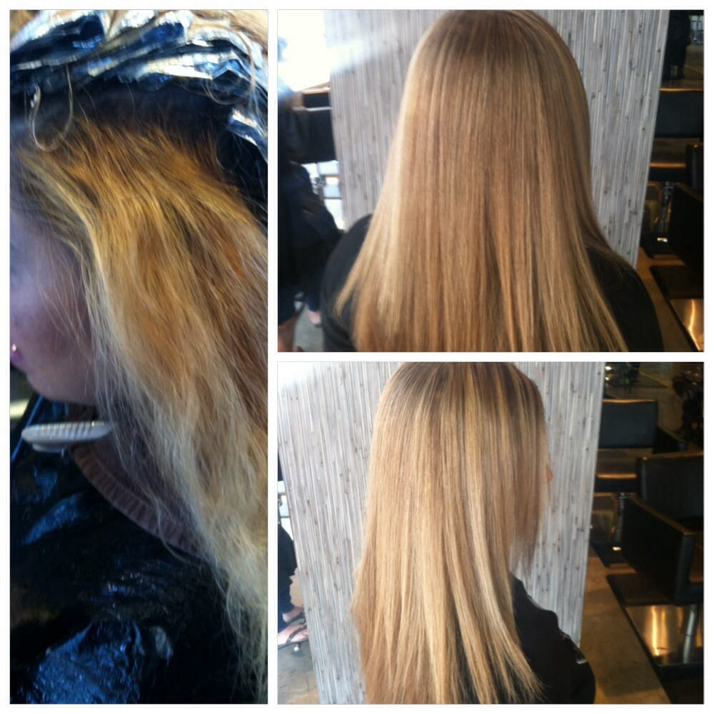 Blonde And Light Brown Lowlights With Brazilian Blowout Split End