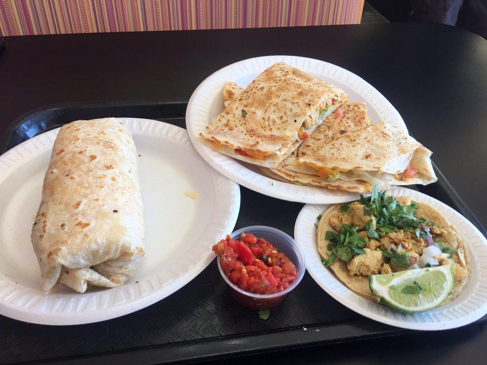 Breakfast burrito, chicken quesadilla and chicken taco - Yelp