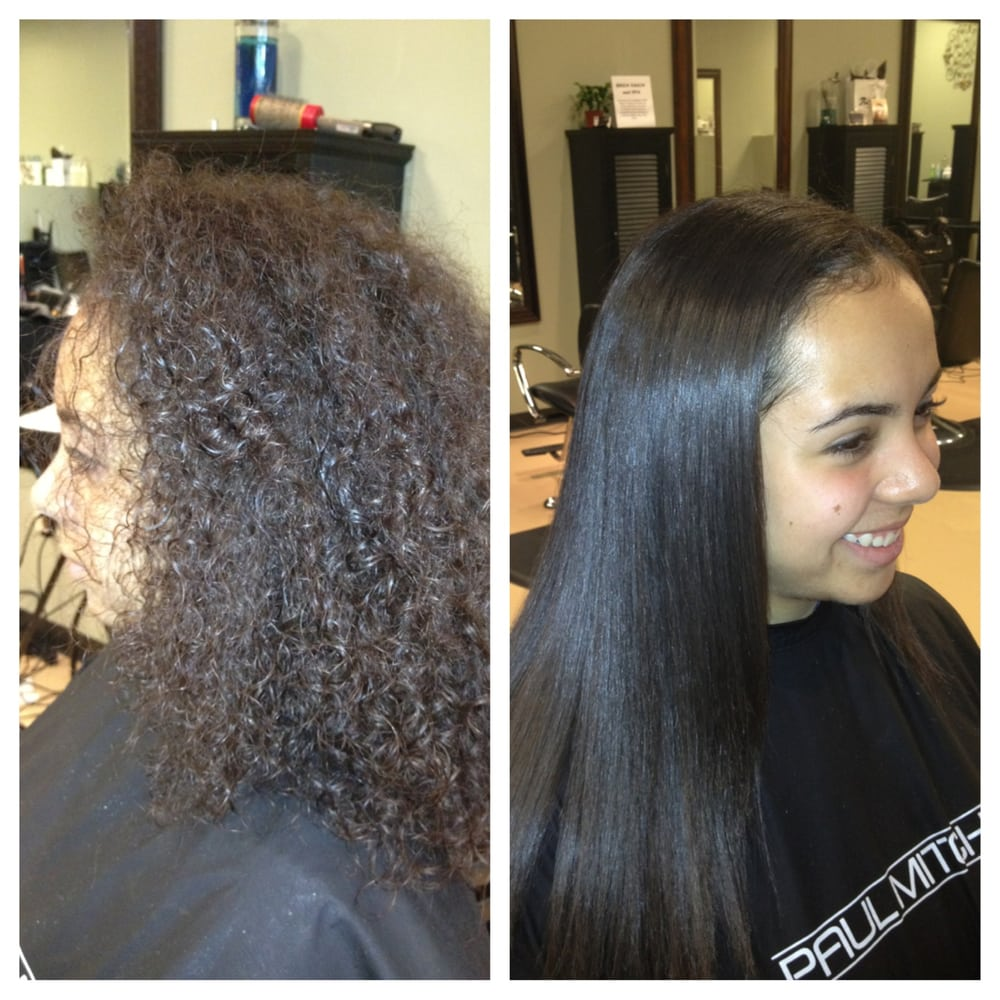 This is a before and after of our global keratin smoothing for Salon kerat in