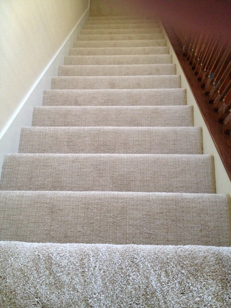 Pattern Carpet At Stair Case And Plush Frieze Top