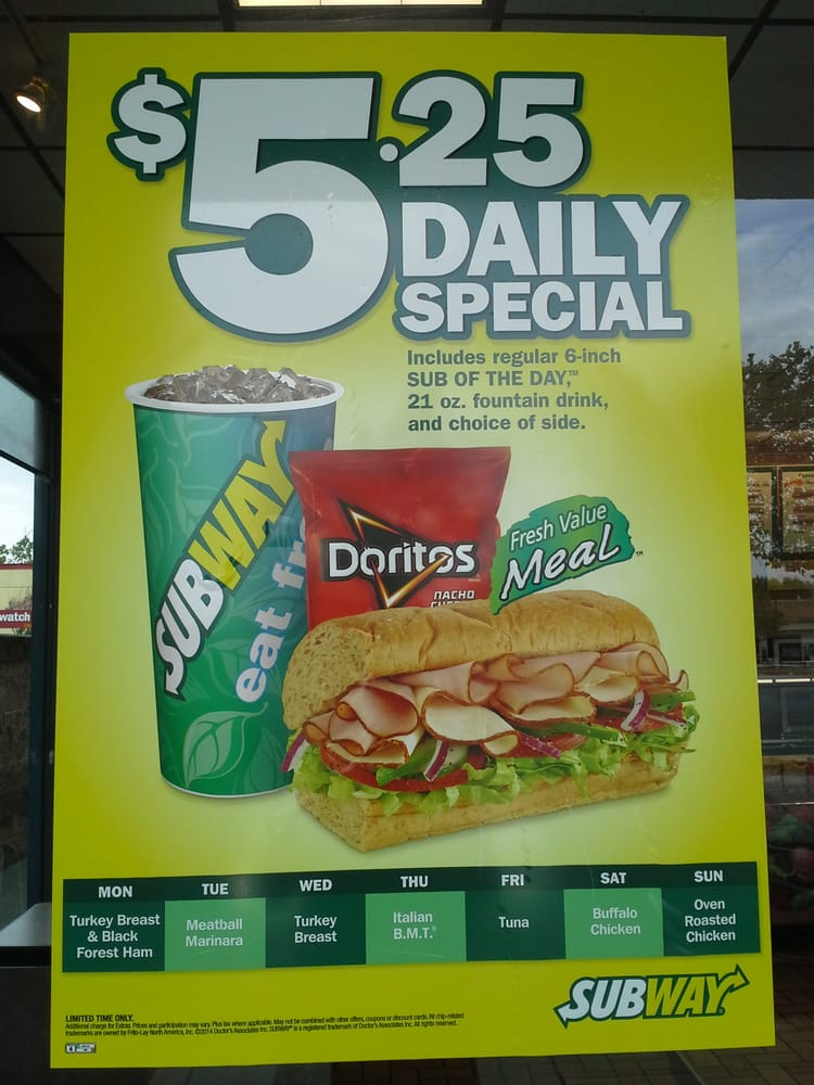 Subway 5 day special